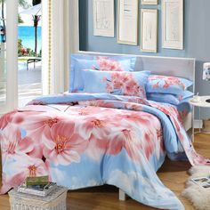 Asian Inspired Design Peach Blossom 100% Cotton Bedding Sets