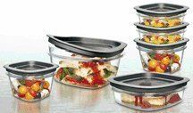 Rubbermaid 1788189 Premier Food Storage Container Clear 18 Piece Set by Rubbermaid. $36.50. Premium seal locks in freshness. Extreme durable polycarbonate, Lids snap to base bottom and to each other. One lid fits multiple bases, Base and lids nest inside each other. Flex & SealTM lids are easy to seal and remove. Resists stains and odors for a lifetime of clarity. Highlights:  ?Resists stains and odors for a lifetime of clarity  ?Sleek, crystal clear, tempered glass is safe fo...