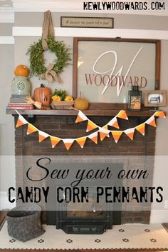 Sew your own candy corn quilted pennants for Halloween