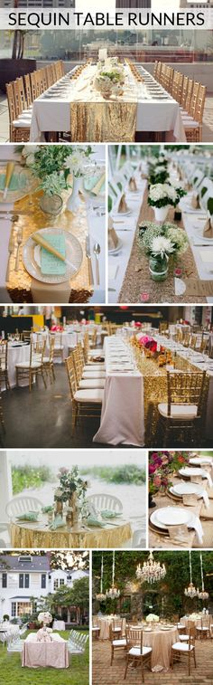 From rose gold and gold to chevron stripe or patterned, sequin table linens can really make an impression on your big day! Tiki Wedding, Wedding Bells, Wedding Table, Fall Wedding, Our Wedding, Dream Wedding, Destination Wedding Locations, Bridal Shower Party, Wedding Reception Decorations