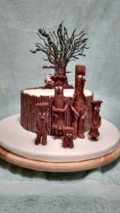Stickman birthday cake! My son wanted Father Christmas in it too! - Julia Donaldson