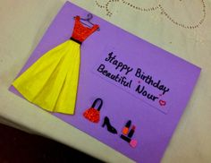 "This Birthday Card made for the special beautiful girl ""Nour"" ^_^. She is my colleague & My lovely friend there :)  #handmade #card #friend #birthday #cute"