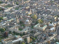 Arial view of Oxford, home of the oldest university in the English-speaking world. Known as the 'City of Dreaming Spires', a reference by poet, Matthew Arnold to the harmonious architecture of the university's buildings. The buildings reflect all periods of English architecture.