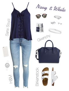 """""""Navy & White ♀️"""" by xofashionismylovexo ❤ liked on Polyvore featuring Sans Souci, TravelSmith, Givenchy, Skagen, Boohoo, JFR, Christian Dior, Blue Nile and Bling Jewelry"""