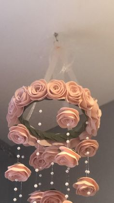 shown in light pink wool (premium quality) felt roses baby nursery mobile Pearl accents, fishing wire creates a beautiful illusion. Felt Roses, Felt Flowers, Paper Flowers, Mobiles, Flower Mobile, Baby Pearls, Baby Girl Nursery Decor, Floral Wall Art, Satin Flowers