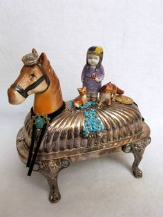 """One of a kind southwest assemblage called, """"Tokola, Fox Lover."""" Vintage bisque Squaw figurine riding her horse Native American Girls, American Indians, Paper Dolls, Art Dolls, Baroque, Tin Art, Found Art, Assemblage Art, Southwestern Style"""