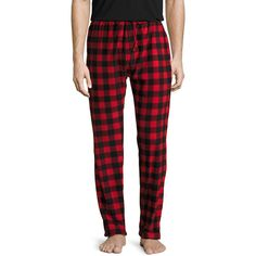 Bottoms Out Men's Buffalo Check Micro Fleece Pants - Size L ($19) ❤ liked on Polyvore featuring men's fashion, men's clothing, men's pants, men's casual pants, multi, mens stretch waist pants, mens microfleece pants, mens patterned pants, mens floral print pants and mens elastic waistband pants