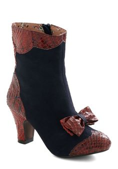 Work Up the Verve Bootie by Miss L Fire - Mid, Leather, Blue, Red, Animal Print, Bows, Vintage Inspired, French / Victorian, Fall