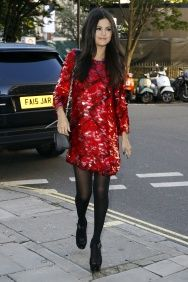 Selena Gomez in in red sequin dress and open toe shoes London September 23, 2015