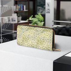 Zipper Wallet, Creative Purses, Custom Wallet Purses for Women, Green Leaves Pattern