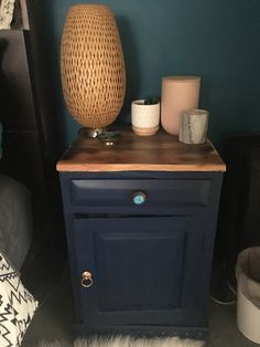 Navy and metallics. A very quick and cheap way to update 10 year old bedside tables.