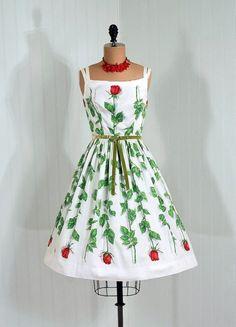 1950's Red Rose Print Sun Dress