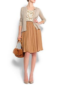 flared skirt, patterned top, casual sweater, simple handbag, delicate heel... all in different neutrals, it makes one hell of an ensemble!