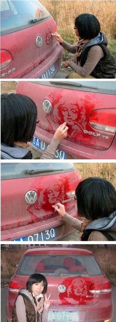 Yeah, dirty car art!