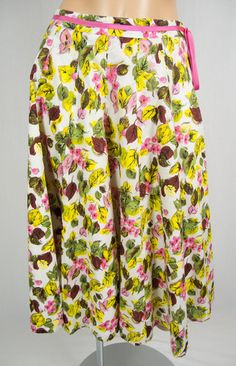 MILLY OF NEW YORK Floral Print Flare Skirt 2 Multi Color Pink Ribbon Accent Long
