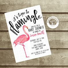 FLAMINGO Baby Shower Invitation, Girl baby shower invite, tropical baby shower, baby sprinkle, couples shower, palm trees, tropical flowers