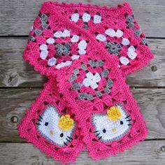 Hello Kitty Granny Square Scarf - Free Pattern