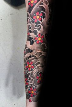 Traditional Japanese Cherry Blossom Mens Water Waves Sleeve Tattoos