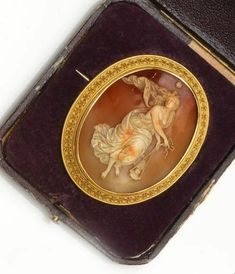 A 19th century shell cameo brooch carved to depict Eos, the Goddess of Dawn http://www.bonhams.com/auctions/21734/lot/30/