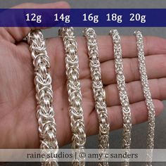 18g Byzantine Chainmaille size variations from rainesupplies, via Etsy.