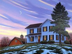 John Sloane. Early Spring - painting, house, tree, art, john sloane
