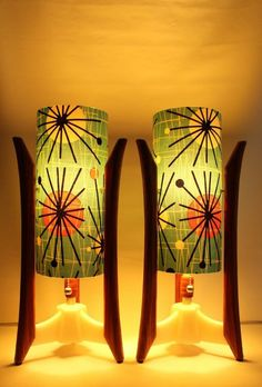 Pair of Retro Grain Mid-century style table lamps. Mid Century Modern Lamps, Mid Century Lighting, Mid Century Decor, Mid Century House, Mid Century Modern Design, Mid Century Style, Mid Century Modern Furniture, Vintage Design, Vintage Decor