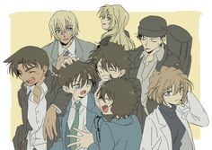 So cute, the rest of the DC cast seem to be getting a kick out of seeing Shinichi & Sherry returned to their normal selves, but they still seem to be smaller than everyone else! [pixiv]