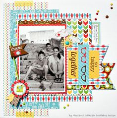 1 photo 2 photo 1 page Layout: So Happy Together featuring the new Day to Day Collection from Doodlebug Design Scrapbook Sketches, Scrapbook Page Layouts, Scrapbooking Ideas, Baby Scrapbook, Scrapbook Cards, School Scrapbook, Happy Together, Layout Inspiration, Making Ideas