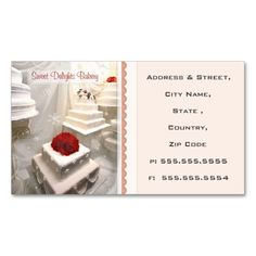Custom Bakery / Wedding Cakes  Business Card. I love this design! It is available for customization or ready to buy as is. All you need is to add your business info to this template then place the order. It will ship within 24 hours. Just click the image to make your own!