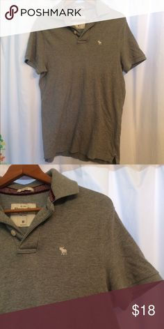 Abercrombie men's polo! Worn once grey polo super comfy and perfect for throwing on! Classic fit length 21 in. Chest 40in with stretch since it's cotton ☺👍🏻 Abercrombie & Fitch Shirts Polos