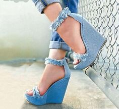 Eilyken 2019 New Designer Print Denim Sandals Roman Sandals High Quality Wedges High Heels Peep Toe Platform Shoes Woman-in High Heels from Shoes on AliExpress Pretty Shoes, Beautiful Shoes, Hot Shoes, Shoes Heels, Cute Wedges Shoes, Blue Wedges, Shoes Sneakers, Dress Shoes, Dance Shoes