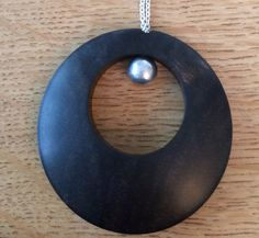 Ebony and silver pendant necklace