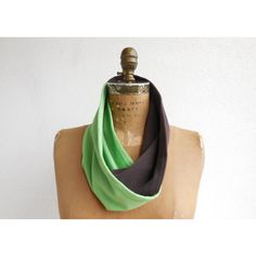 Recycled T-Shirt Scarf Tee Scarf Infinity Scarf Green Chocolate Brown... (€23) ❤ liked on Polyvore featuring tops and t-shirts