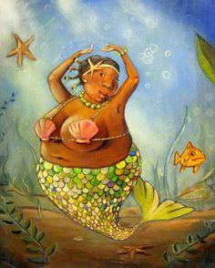 Rhonda Mermaid bbw black mermaid on watercolor paper Fat Mermaid, Black Mermaid, Mermaid Art, Mermaid Paintings, Manga Mermaid, Mermaid Tails, Art Vampire, Vampire Knight, Real Mermaids
