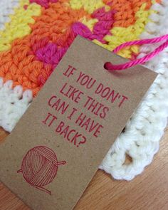 Honest Gift Tag Set (Knitting or Crochet)