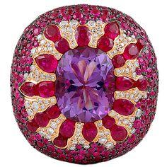 SALAVETTI Byzantine Splendor Diamond Ruby Amethyst Ring @Josephine Kimberling vogel