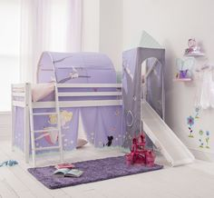 Cabin Bed Mid Sleeper Pine Kids Bed with Slide Annabel with Tent  6670