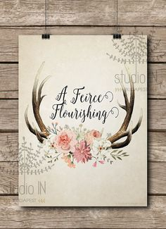 Florar antler printable, shabby chic, rustic floral antler print, Cottage decor, antler nursery decor, antler with flowers vintage style                                                                                                                                                                                 More