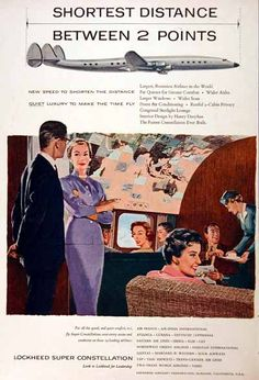 1955 Lockheed Super Constellation original vintage advertisement. Illustrated in gorgeous color. Features list of major airlines flying the Super Connie.