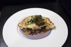 Cauliflower Steak, Purple Cauliflower Purée, Quinoa, and Crunchy Pesto Oyster Mushroom from Chef Charles Phillip of 1808 Grille – Nashville, TN #savory #gourmet #finedining