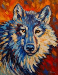 Colorful Wolf Original Painting, Wildlife Art by Theresa Paden, painting by artist Theresa Paden