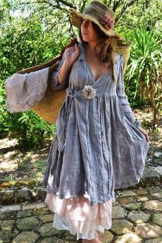 d04f714875 Discover thousands of images about Blue linen cotton wrap dress. Also cute  grass hat and bag