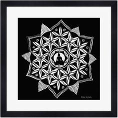 Mandala Noir & Blanc - Poster Carré Encadré