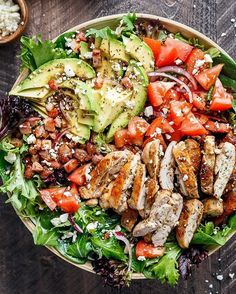 BLT BALSAMIC CHICKEN AVOCADO SALAD Made by @cafedelites BLT Balsamic Chicken Avocado Feta Salad is a delicious twist to a BLT in a bowl! With a balsamic dressing that doubles as a marinade you wont even miss the bread in this mega loaded salad. Weight Watchers Smart Points: 12 per serve Author: Karina  Cafe Delites Serves: 4 INGREDIENTS Balsamic Dressing / Marinade:  cup balsamic vinegar  cup olive oil 2 tablespoons water (or more oil if you wish) 2 teaspoons Italian seasoning 2 teaspoons…