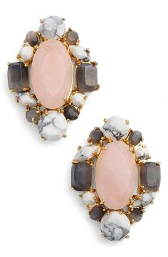 Sparkle-flecked semiprecious stones and colorful crystals form an elegant cluster in these chic Kate Spade earrings that can be styled for daytime and evening.