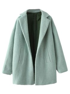 Green Long Sleeve Lapel Wool Coat | Choies