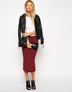 ASOS+Midi+Pencil+Skirt+in+Jersey + statement necklace love this whole look