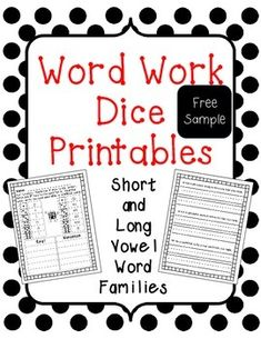 FREE SAMPLE of a fun WORD WORK dice printable:)  The full packet includes short vowel word families and long vowel word families.  No prep needed - you just need 2 dice!  Use this as a word work center, reading center, spelling activity, homework, morning work, or even classwork.Check out the full packet here:Word Work Dice Printables - Short and Long Vowel Word FamiliesTable of Contents:p. 2-3:  short aP. 4-5:  short eP. 6-7:  short iP. 8-9:  short op. 10-11:  short up. 12-13:  long a_ep…