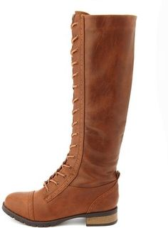 Knee-High Lace-Up Riding Boot