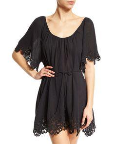 Seafolly Beach Smock Lace-Trim Coverup Dress, Black